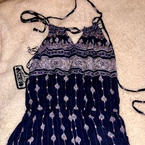 Angie Other - Navy patterned romper